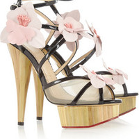 Charlotte Olympia Botanica orchid-embellished patent-leather sandals – 59% at THE OUTNET.COM