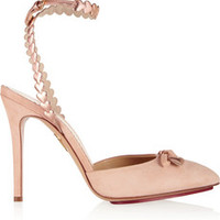Charlotte Olympia Amour heart-trimmed suede pumps – 60% at THE OUTNET.COM