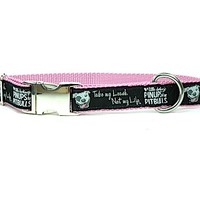 *NEW* Nylon Dog Collar- pink lining - Pinups for Pitbulls