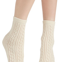 Whimsy for Yourself Socks in Ivory | Mod Retro Vintage Socks | ModCloth.com