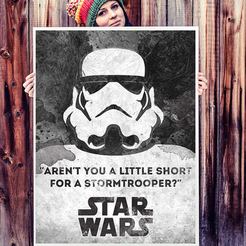 Star Wars poster. Movie poster. Star Wars quote. Stormtrooper poster. Black and white. Handmade poster.