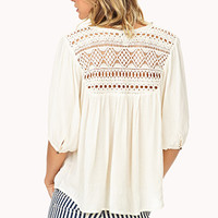 Enchanted Crochet-Trimmed Blouse