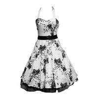 50's Dress Floral White  Black