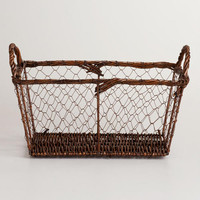 BROWN RECTANGLE WIRE BASKET