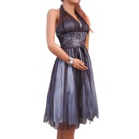 Sexy Halter Lace Sheer Cocktail Evening Dress Cocktail Gown Prom Holiday Bridesmaid Junior Plus Size