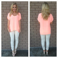 Neon Coral Short Sleeve Blouse
