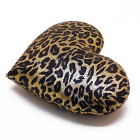 Leopard Print Gold Metallic Heart Shaped Decorative Pillow Valentine GIft