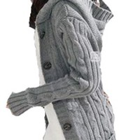 Womens Girls Long Sleeve Hooded Hoodie Coat Cardigans Trench Sweater