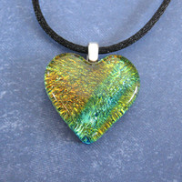 Colorful Heart Necklace, Dichroic Heart Necklace, Girlfriend Jewelry, Fused Glass Jewelry - Starshine - 4621 -2