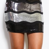 Black and Silver Sequin Skirt