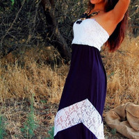 LOVELY IN LACE BLACK & WHITE CHEVRON MAXI DRESS