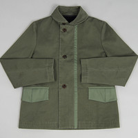 folk - canvas overcoat with detachable wool liner dark field green