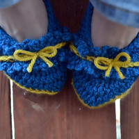 Bows and ruffles crochet slipper booties, shoes, socks in sapphire and gold