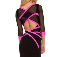 Q9020 Quontum Black/Pink Mesh Cross Strap Dress