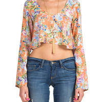 Floral Button Back Cropped Blouse