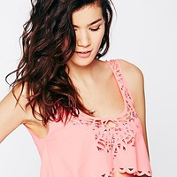 Maaji Womens Two-Fer Laser Cutout Crop - Coral,