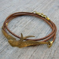 fly a w a y Vintage sparrow genuine Greek leather by lovepray