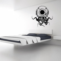 Wall Decal Vinyl Sticker Decals Art Decor Design Octopus Tentacles Fish Jellyfish Skuba Deep Sea Ocean Animals Bedroom Style (r115)