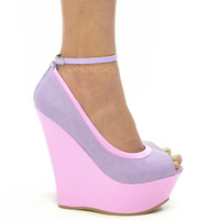 RESTOCKED Sorority Perry Platform Wedge Heels Pastel Purple