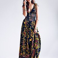 Free People Womens FP ONE Wisteria Maxi Dress - Navy