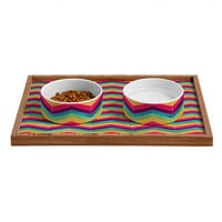 Lara Kulpa Chevron Brights Pet Bowl and Tray