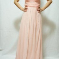 Blush Chiffon Strapless Empire Gown
