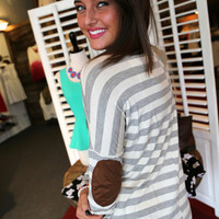 Striped Elbow Patch Tunic