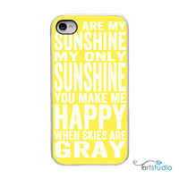 You Are My Sunshine Yellow with White or Black Sides iPhone Case - IPhone 4, 4s, 5, 5s Hard Cover - Bright Art Unique Trendy - artstudio54