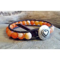 Leather Wrap Bracelet, Frosted Fire Agate Beads, Beaded Bracelet, Beaded Wrap