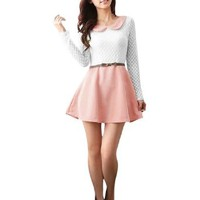 Ladies Doll Collar Dots Pattern Pullover Casual Mini Dress