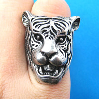 Fierce Tiger Lion Shaped Animal Ring in Silver with Animal Print Detail