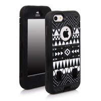 E-LV Deluxe Printed Hard Soft High Impact Hybrid Armor Defender Case Combo for Apple iPhone 5C with 1 Screen Protector, 1 Black Stylus and 1 Microfiber Sticker Digital Cleaner (iPhone 5C, Tribal black)