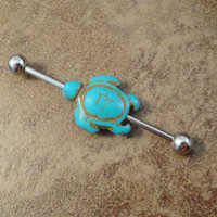 Turquoise Turtle Industrial Barbell Piercing Upper Ear Ring