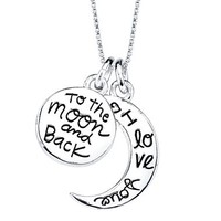 "Sterling Silver ""I Love You to the Moon and Back"" Pendant"