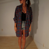 Vintage Plaid Shirt Tunic XS S M L Mini Dress Kimono Duster Jacket Boho Hippie Gypsy Club Kid Acid Grunge Revival 90s Hipster Festival Coat