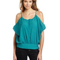 C. Luce Women's Open Shoulder Buttoned Tunic Top