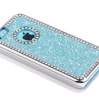 Pandamimi ULAK(TM) Luxury Glitter Bling Crystal Rhinestone Chrome Plastic Hard Case Cover for Apple iPhone 5C with Stylus and Screen Protector (Glitter--White)