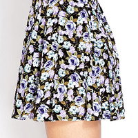 Buttoned Floral Skirt