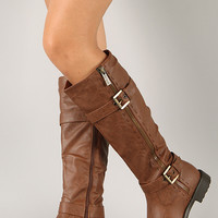 Fab-5 Zipper Buckle Riding Knee High Boot