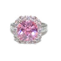 Large Halo Pink Sterling Silver CZ Ring Size 7 Rhodium Plated - Sterling Silver Cubic Zirconia Ring - Large Pink Cocktail Ring - Pink Ring