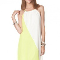 Tori Colorblock Dress in Lime - ShopSosie.com