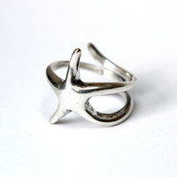 Silver Starfish Ring in Solid White Bronze with Sterling Overlay Starfish Ring