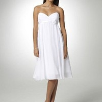 David's Bridal Short Chiffon Dress with Sweetheart Neckline Style BR1038