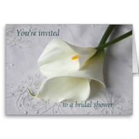 white calla lilies on linen bridal shower invite