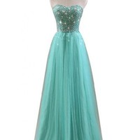 Gorgeous Bridal 2014 Fairy Prom Dress Long Strapless Tulle Rhinestones
