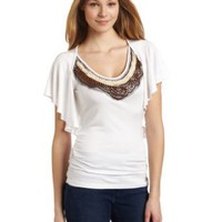 Democracy Women's Flounce Sleeve Side Shirring Top