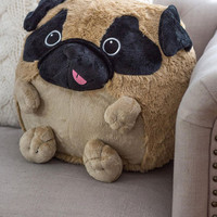 Plush One Pillow in Pug