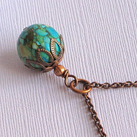Turquoise Necklace  Magnesite Copper by mcstoneworks on Etsy