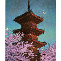 Pagoda in Moonlight Print by Kawase Hasui at Art.com