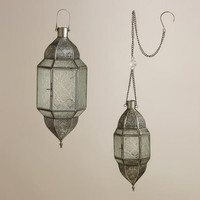 Clear Sabita Embossed Glass Hanging Lanterns - World Market